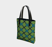 Load image into Gallery viewer, The Nadine Tote Bag in Green and Blue-Clash Patterns