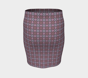 The Nancy Fitted Skirt in Mauve-Clash Patterns