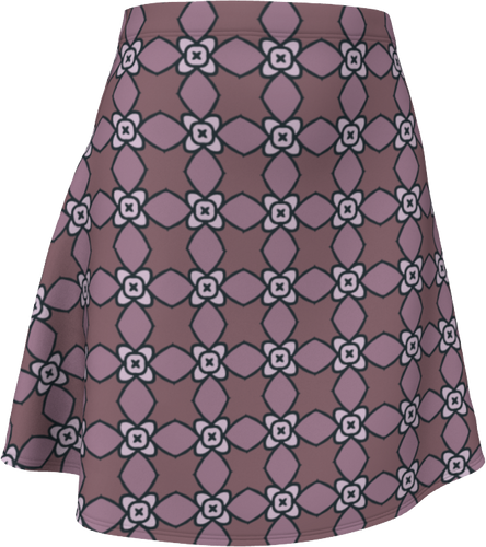 The Nancy Flare Skirt in Mauve-Flare Skirt-Clash Patterns by Jennifer Akkermans