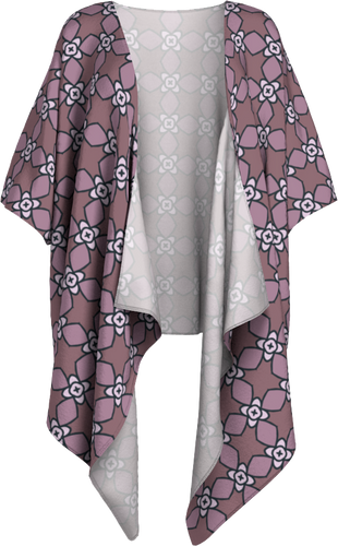 The Nancy Kimono in Mauve-Draped Kimono-Clash Patterns by Jennifer Akkermans