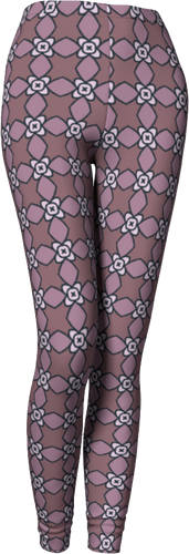 The Nancy Leggings in Mauve-Leggings-Clash Patterns by Jennifer Akkermans