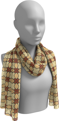 The Nancy Long Scarf in Wheat-Long Scarf-Clash Patterns by Jennifer Akkermans