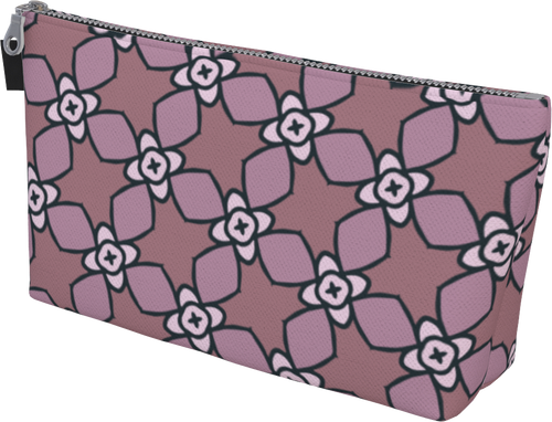 The Nancy Makeup Bag in Mauve-Makeup Bag-Clash Patterns by Jennifer Akkermans