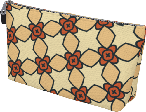 The Nancy Makeup Bag in Wheat-Makeup Bag-Clash Patterns by Jennifer Akkermans