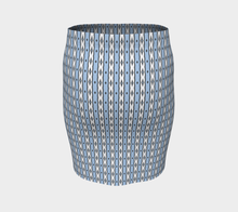 Load image into Gallery viewer, The Nicole Fitted Skirt in Blue and White-Clash Patterns