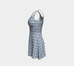 The Nicole Flare Dress in Blue and White-Clash Patterns