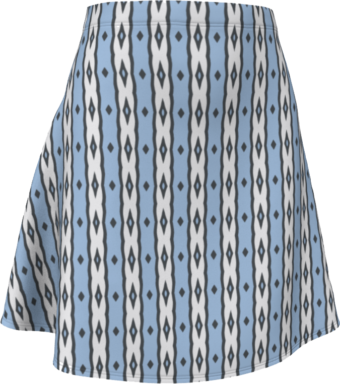 The Nicole Flare Skirt in Blue and White