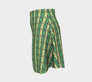 The Nicole Flare Skirt in Green-Clash Patterns
