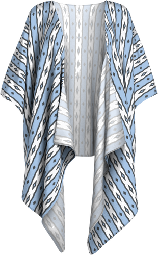 The Nicole Kimono in Blue and White-Draped Kimono-Clash Patterns by Jennifer Akkermans
