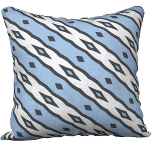 The Nicole Reversible Pillow in Blue and White