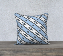 Load image into Gallery viewer, The Nicole Reversible Pillow in Blue and White-Clash Patterns