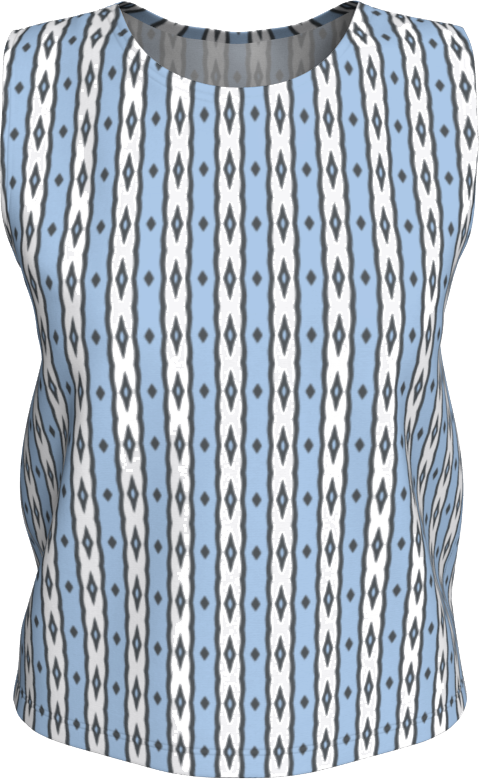 The Nicole Tank Top in Blue and White-Loose Tank Top (Regular)-Clash Patterns by Jennifer Akkermans
