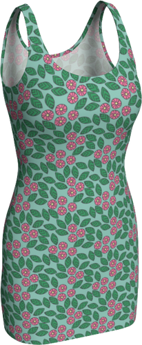 The Pamela Fitted Dress in Green and Pink-Bodycon Dress-Clash Patterns by Jennifer Akkermans