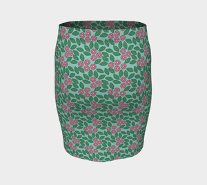 The Pamela Fitted Skirt in Green and Pink-Clash Patterns