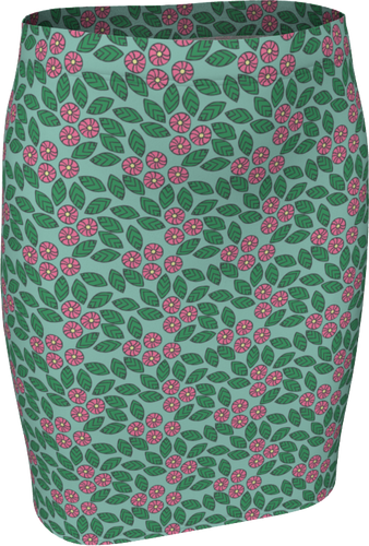 The Pamela Fitted Skirt in Green and Pink-Fitted Skirt-Clash Patterns by Jennifer Akkermans