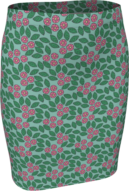The Pamela Fitted Skirt in Green and Pink