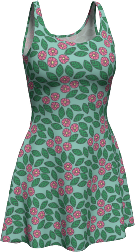 The Pamela Flare Dress in Green and Pink-Flare Dress-Clash Patterns by Jennifer Akkermans