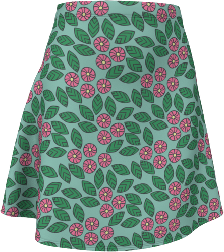 The Pamela Flare Skirt in Green and Pink-Flare Skirt-Clash Patterns by Jennifer Akkermans