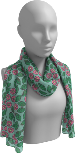 The Pamela Garden Long Scarf in Green and Pink-Long Scarf-Clash Patterns by Jennifer Akkermans