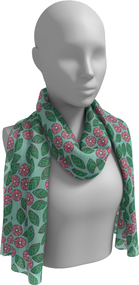 The Pamela Garden Long Scarf in Green and Pink