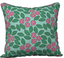 Load image into Gallery viewer, The Pamela Garden Pillow in Green and Pink