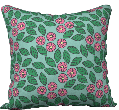 The Pamela Garden Pillow in Green and Pink-18