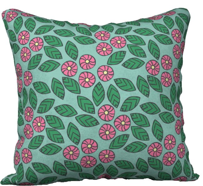 The Pamela Garden Pillow in Green and Pink
