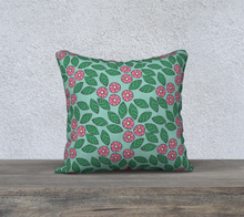 Load image into Gallery viewer, The Pamela Garden Pillow in Green and Pink-Clash Patterns