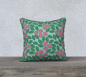 The Pamela Garden Pillow in Green and Pink-Clash Patterns