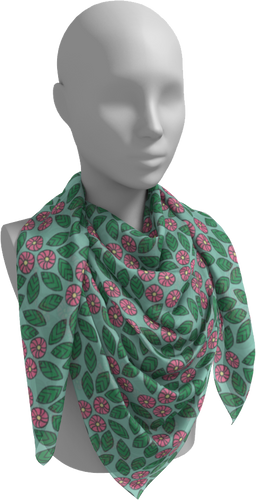 The Pamela Garden Scarf in Green and Pink-Square Scarf-Clash Patterns by Jennifer Akkermans