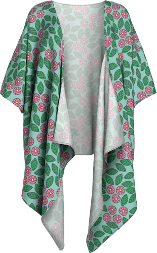 The Pamela Kimono in Green and Pink-Draped Kimono-Clash Patterns by Jennifer Akkermans