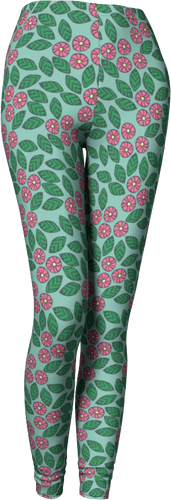 The Pamela Leggings in Green and Pink-Leggings-Clash Patterns by Jennifer Akkermans