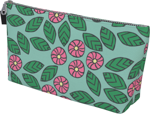The Pamela Makeup Bag in Green and Pink-Makeup Bag-Clash Patterns by Jennifer Akkermans