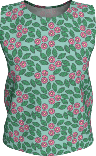 The Pamela Tank Top in Green and Pink-Loose Tank Top (Regular)-Clash Patterns by Jennifer Akkermans
