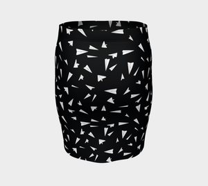 The Paper Planes Fitted Skirt in Black-Clash Patterns