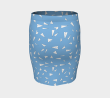 Load image into Gallery viewer, The Paper Planes Fitted Skirt in Blue-Clash Patterns