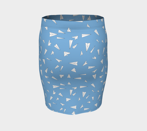 The Paper Planes Fitted Skirt in Blue-Clash Patterns