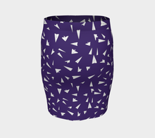 Load image into Gallery viewer, The Paper Planes Fitted Skirt in Purple-Clash Patterns