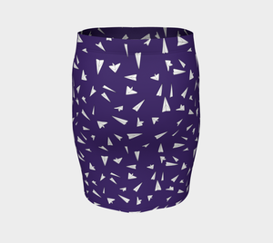 The Paper Planes Fitted Skirt in Purple-Clash Patterns