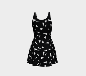 The Paper Planes Flare Dress in Black-Clash Patterns