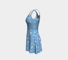 Load image into Gallery viewer, The Paper Planes Flare Dress in Blue-Clash Patterns