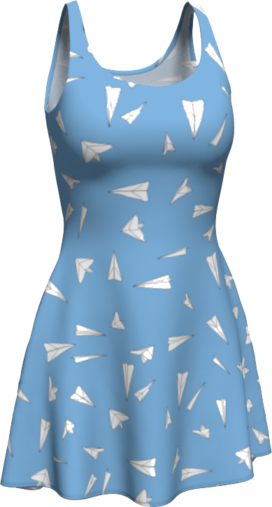 The Paper Planes Flare Dress in Blue