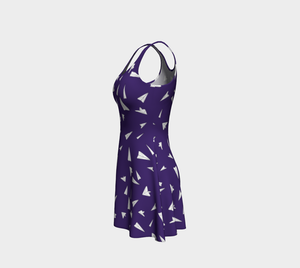 The Paper Planes Flare Dress in Purple-Clash Patterns
