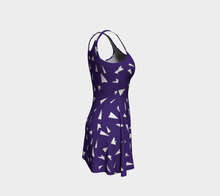 Load image into Gallery viewer, The Paper Planes Flare Dress in Purple-Clash Patterns