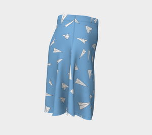 The Paper Planes Flare Skirt in Blue-Clash Patterns