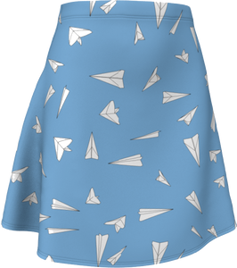The Paper Planes Flare Skirt in Blue