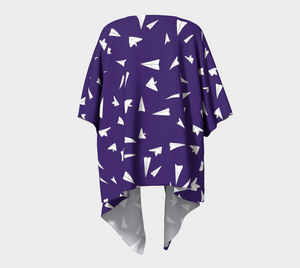 The Paper Planes Kimono in Purple-Clash Patterns