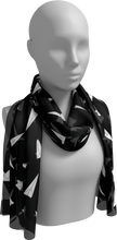 Load image into Gallery viewer, The Paper Planes Long Scarf in Black-Long Scarf-Clash Patterns by Jennifer Akkermans