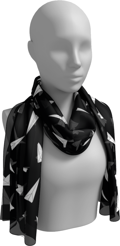 The Paper Planes Long Scarf in Black