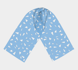 The Paper Planes Long Scarf in Blue-Clash Patterns